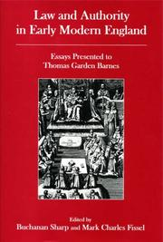 Cover of: Law And Authority in Early Modern England |