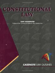 Cover of: Constitutional Law (Law Outlines Ser.)