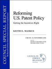 Cover of: Reforming U.S. Patent Policy