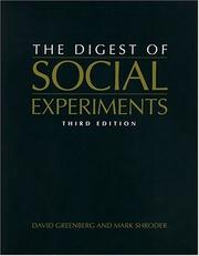 Cover of: The Digest of Social Experiments | David H. Greenberg
