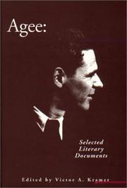 Cover of: Agee: Selected Literary Documents