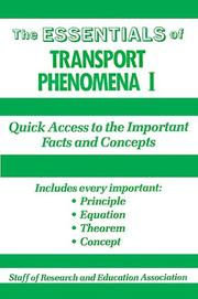 Cover of: Essentials of Transport Phenomena 1 (Essentials)