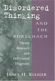 Cover of: Disordered thinking and the Rorschach