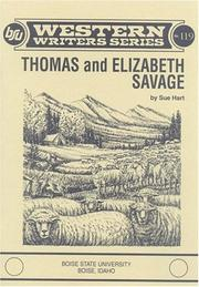 Cover of: Thomas and Elizabeth Savage