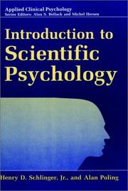 Cover of: Introduction to scientific psychology | Henry D. Schlinger