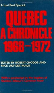 Quebec: a chronicle 1968-1972