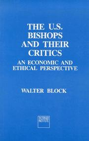 Cover of: The U.S. Bishops and Their Critics | Walter E. Block