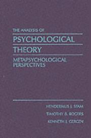 Cover of: The Analysis of psychological theory