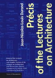 Cover of: Précis of the lectures on architecture