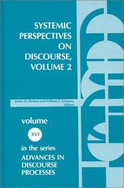 Cover of: Systemic Perspectives on Discourse, Volume 2 | James Benson