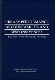 Cover of: Library performance, accountability, and responsiveness |