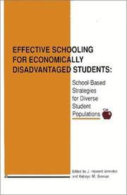 Cover of: Effective schooling for economically disadvantaged students | J. Howard Johnston