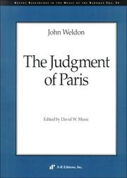 Cover of: The Judgment of Paris (Recent Researches in the Music of the Baroque Era) | John Weldon