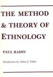 The method and theory of ethnology by Radin, Paul