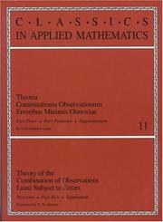 Cover of: Theory of the Combination of Observations Least Subject to Errors: Part One, Part Two, Supplement (Classics in Applied Mathematics)