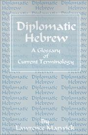 Cover of: Diplomatic Hebrew | Lawrence Marwick