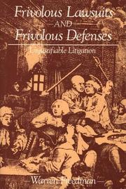 Cover of: Frivolous lawsuits and frivolous defenses