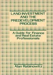 Cover of: Land investment and the predevelopment process