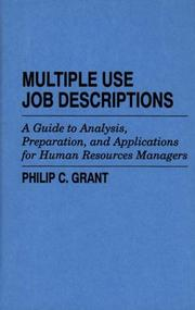 Cover of: Multiple use job descriptions | Philip C. Grant
