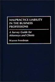 Cover of: Malpractice liability in the business professions