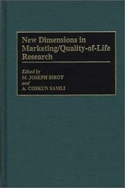 Cover of: New dimensions in marketing/quality-of-life research