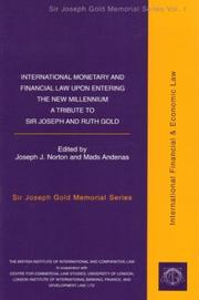 Cover of: International monetary and financial law upon entering the new millennium