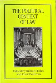 Cover of: The Political Context of Law |