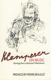 Cover of: Klemperer on music