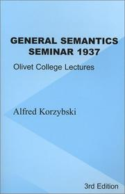 Cover of: General Semantics Seminar 1937