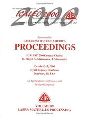 Laser Materials Processing , ICALEO 2000 Proceedings, Volume 89