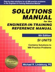 Cover of: Solutions manual for the Engineer-in-training reference manual
