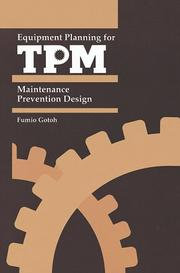 Cover of: Equipment planning for TPM | Fumio GotoМ""