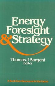 Cover of: Energy, foresight, and strategy