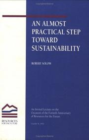 Cover of: An Almost Practical Step Toward Sustainability