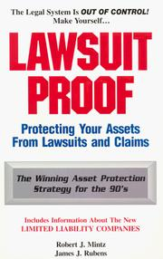 Cover of: Lawsuit Proof | Robert J. Mintz
