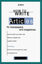 Cover of: How to Write Articles for News/Mags, 1/e (Arco