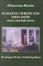 Cover of: In haste I write you this note