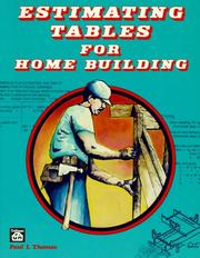 Cover of: Estimating tables for home building