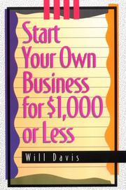 Cover of: Start your own business for $1,000 or less