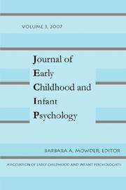 Cover of: JOURNAL OF EARLY CHILDHOOD VOL 3 | Barbara, A Mowder