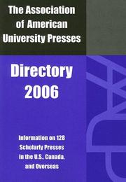 Cover of: The Association of American University Presses Directory, 2006 (Association of American University Presses) | AAUP