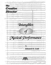 Cover of: Intangibles of Musical Performance | Edward S. Lisk