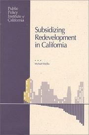 Cover of: Subsidizing redevelopment in California