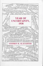 Cover of: Year of uncertainty, 1938