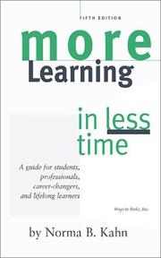 Cover of: More Learning in Less Time | Norma B. Kahn