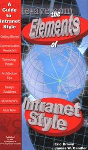 Cover of: The Elements of Intranet Style | Eric Brown