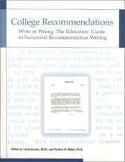 Cover of: College Recommendations  Write or Wrong | Linda Jacobs