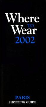 "Cover of: Where to wear : the ""black book"" for Paris shopping"