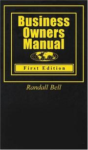 Cover of: Business Owners Manual