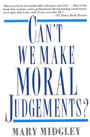 Cover of: Can't we make moral judgements?